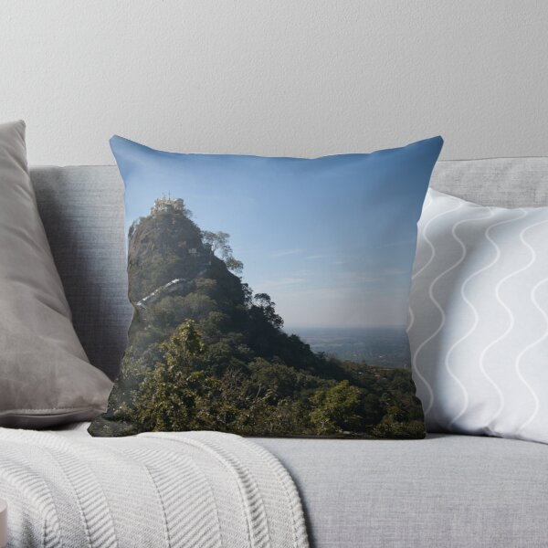Mount Popa - the Mount Olympus of Burma Throw Pillow