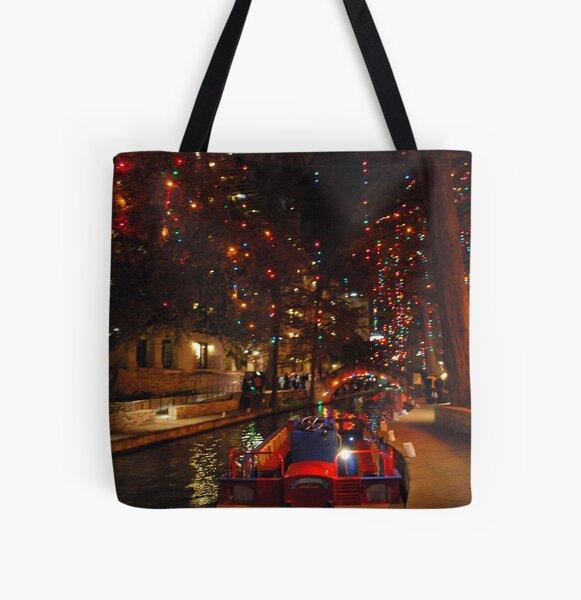 San Antonio Riverwalk in December All Over Print Tote Bag