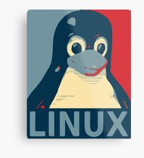 Linux Tux penguin poster head red blue  Metal Print