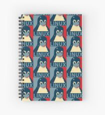 Linux Tux penguin poster head red blue  Spiral Notebook