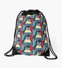 Linux Tux penguin poster head red blue  Drawstring Bag