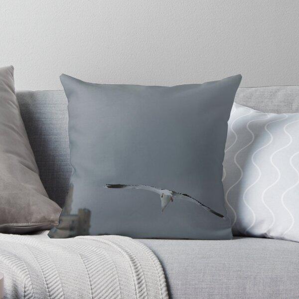 Gull Landing Throw Pillow