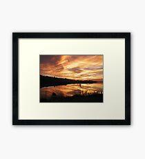 Sunset on Bodega Bay Harbor Framed Print