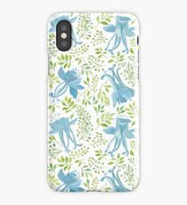 Watercolor leaves and blue flowers pattern iPhone Case