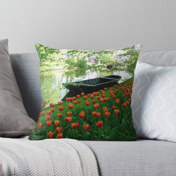 Boats and Blooms Throw Pillow