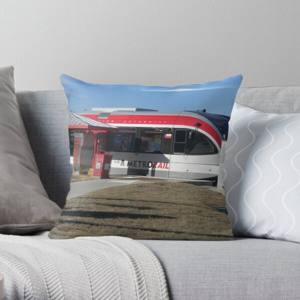 Austin's New Metrorail - Red Blur, Silver Streak Throw Pillow