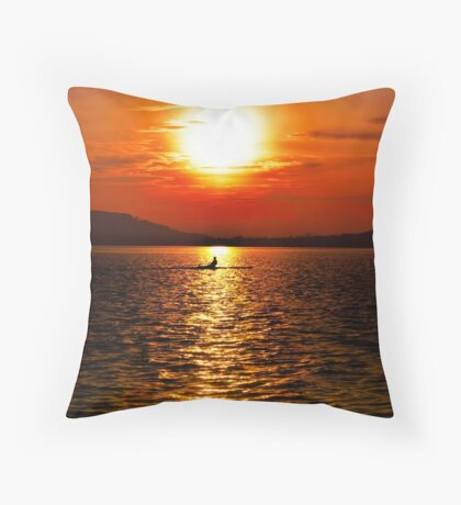 Rowing Reflections Throw Pillow
