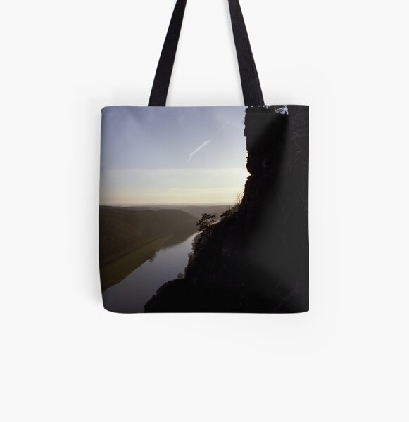 Bastei, lookout over the Elbe valley, Germany All Over Print Tote Bag