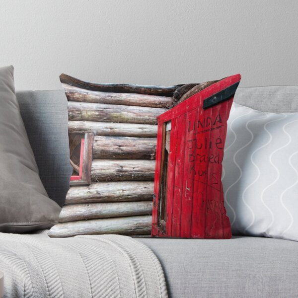 Red Door at the Cabin. Throw Pillow