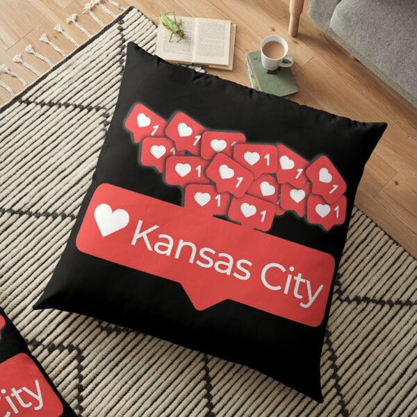Love My Kansas City Missouri Notification Hearts Floor Pillow