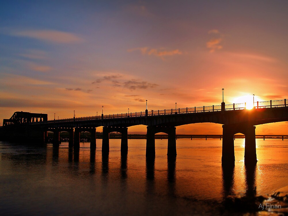 Sunshine Over The Kincardine Bridge, Scotland. by Aj Finan
