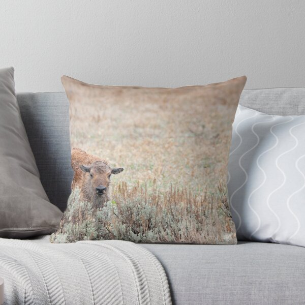 Sad Calf In The Freezing Rain Throw Pillow