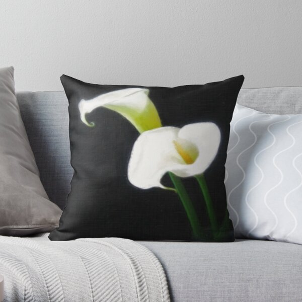 Elegant Calla Lily Flowers 1 Painterly Throw Pillow