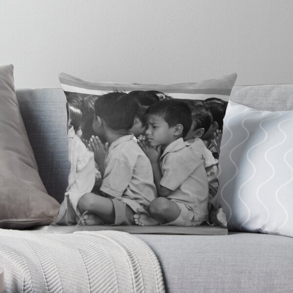 the boy who has trainers Throw Pillow
