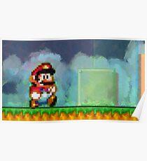 Super Mario retro painted pixel art Poster