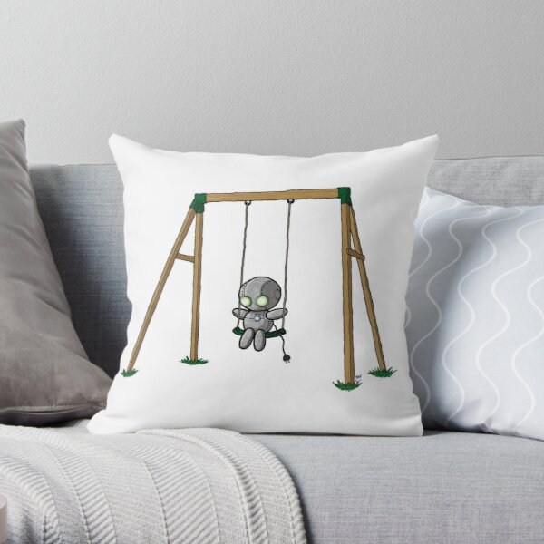 Lonely Robot on a Swing Throw Pillow