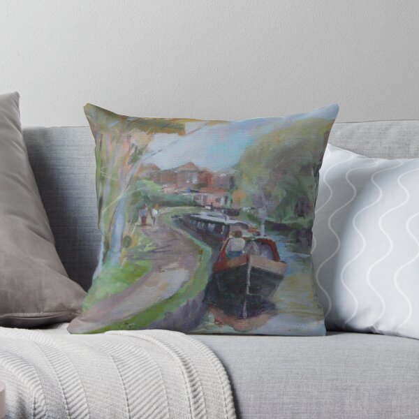 Longboats and distant lock. Throw Pillow