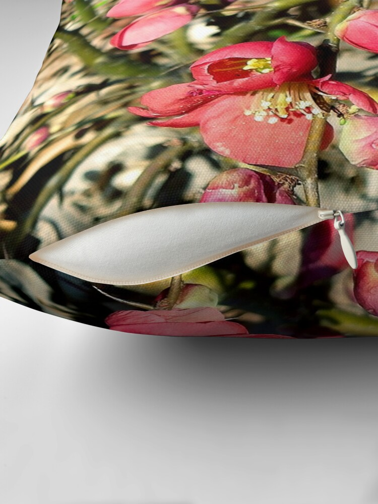 Alternate view of Quince Flowers and Thorns Throw Pillow