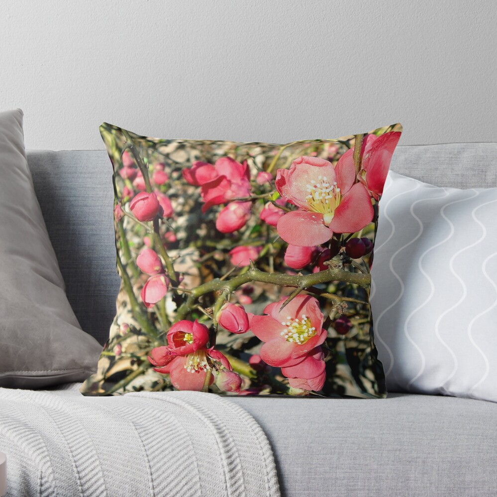 Quince Flowers and Thorns Throw Pillow