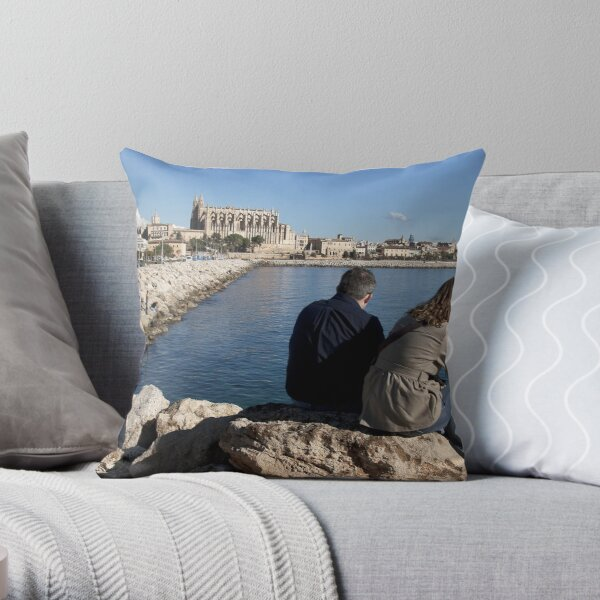 View of the Cathedral from a spot in Palma harbour Throw Pillow
