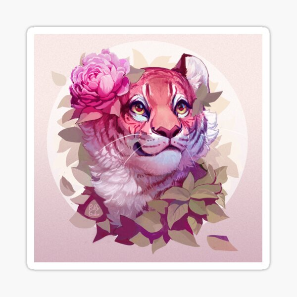 Tiger with Flower (Background) Sticker