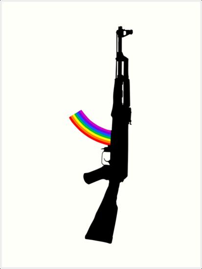 machine gun silhouette ak 47 edition art prints by redstep