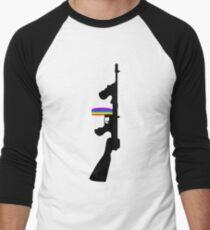 Machine Gun Silhouette - Tommy Gun Edition Men's Baseball ¾ T-Shirt