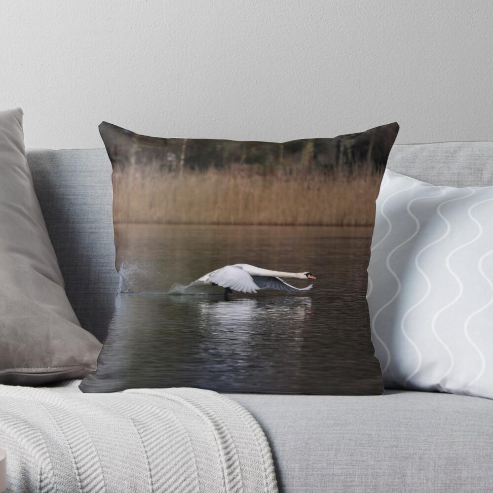 Swan Take-off Throw Pillow