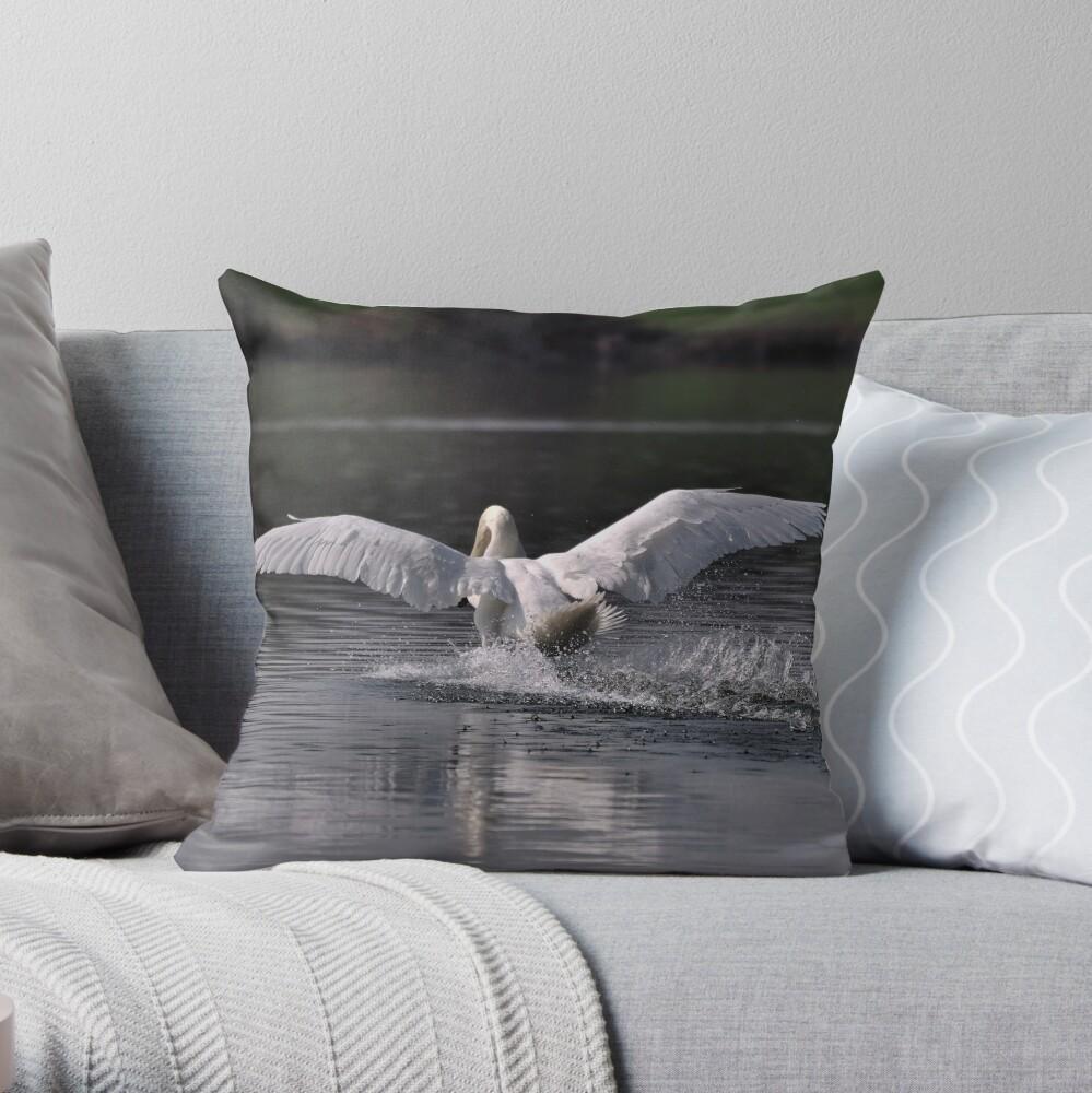 Swan: Landing Throw Pillow