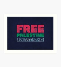 Free Palestine, Boycott Israel Art Print