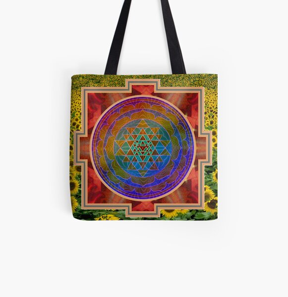 Yantra and the sunflower All Over Print Tote Bag