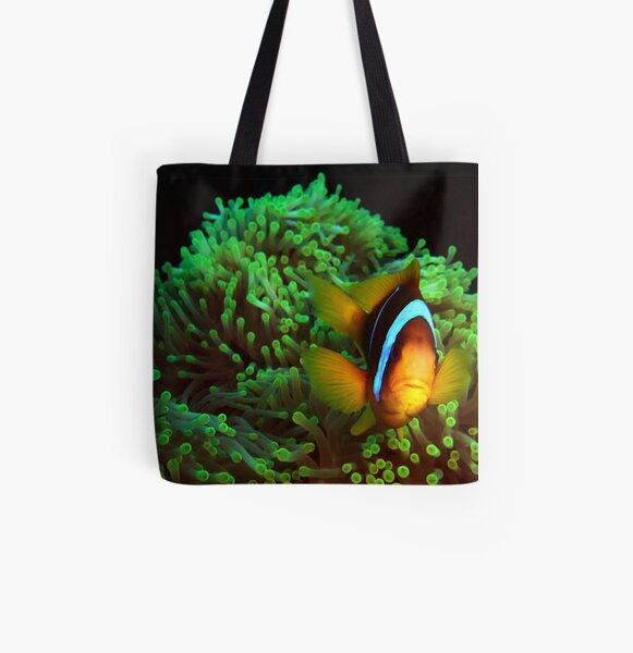Anemone Fish in Green Anemone All Over Print Tote Bag