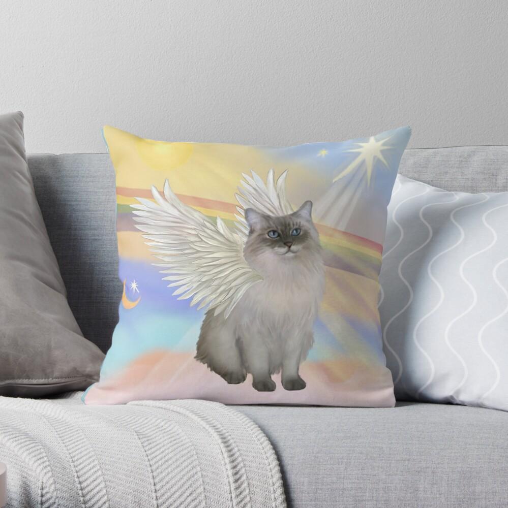 Heavens Clouds - Ragdoll (Blue Seal Point) Cat Angel Throw Pillow