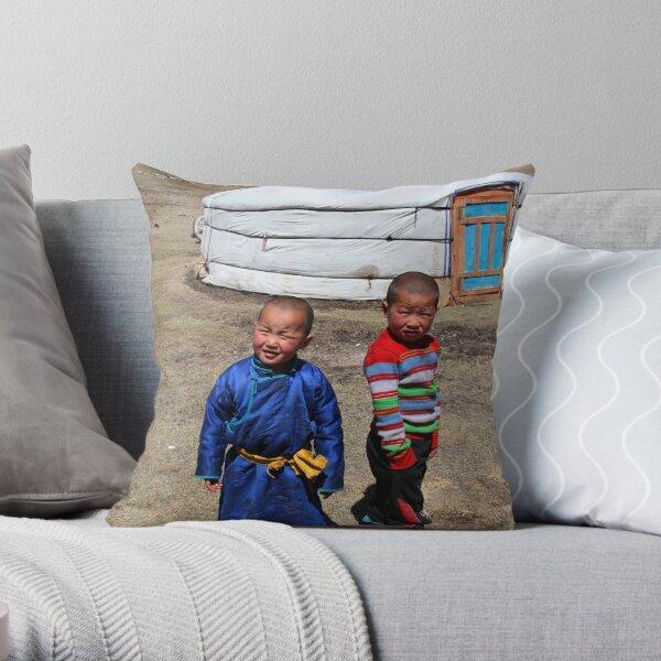 Mongolian children Throw Pillow
