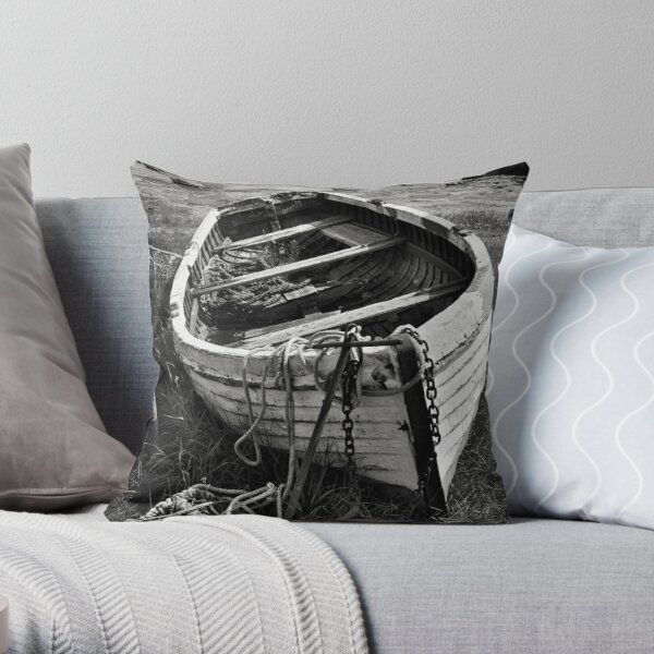 Old boat and lobster pots - Lindisfarne Throw Pillow