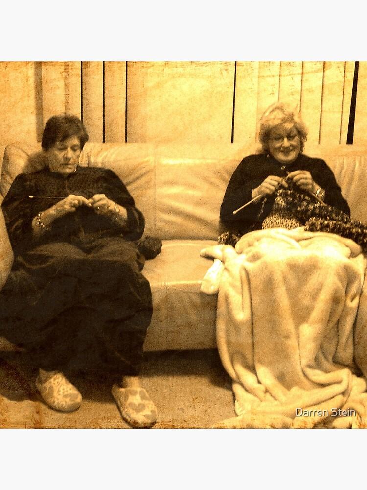 Two ladies knitting by darrikk