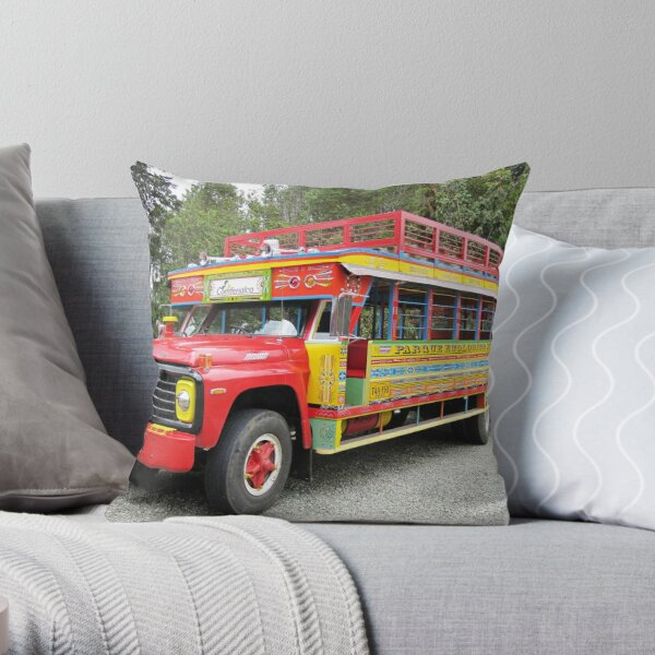 LA CHIVA- Tourists buses in Colombia Throw Pillow