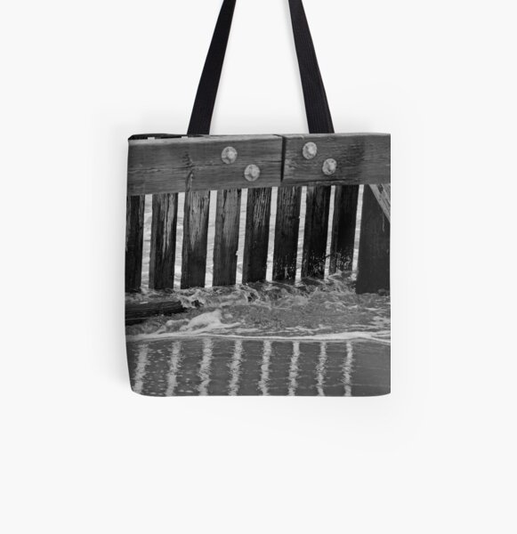 Crissy Field Pier B&W All Over Print Tote Bag