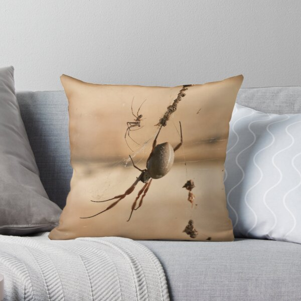 Golden Orb Weaver Throw Pillow