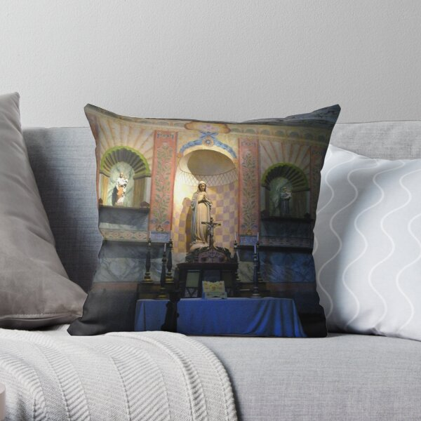 """""""V"""" is for Virgin Mary, Chapel Interior; Mission La Purisima"""" Throw Pillow"""