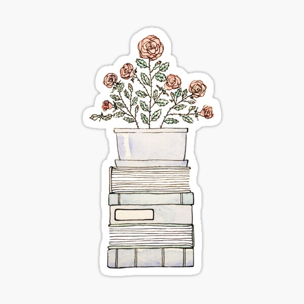 Books & a Rosebush Sticker