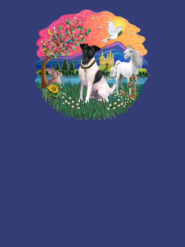 Fantasy Land with a Smooth Fox Terrier (black and white) by JeanBFitzgerald