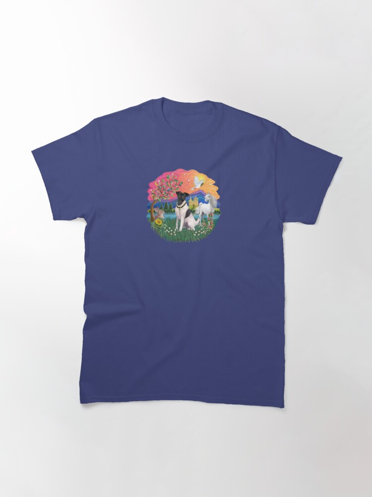 Alternate view of Fantasy Land with a Smooth Fox Terrier (black and white) Classic T-Shirt