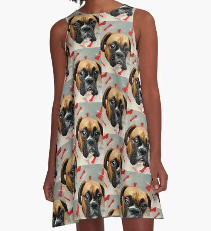 Nicht glücklich - Boxer Dog Series A-Linien Kleid