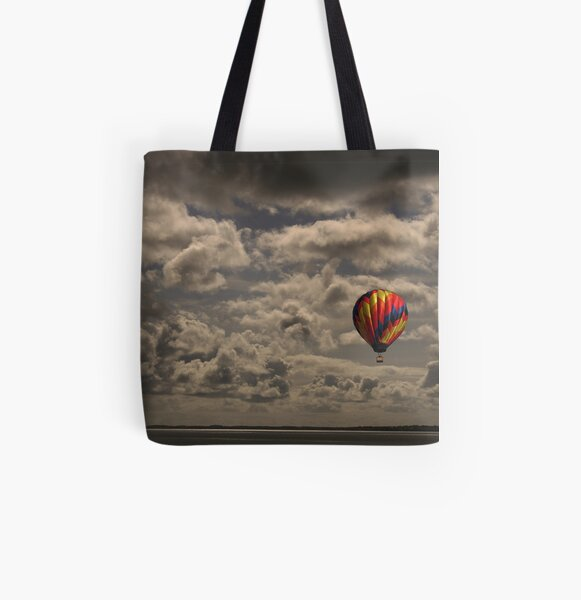 Balloons over Carrikfergus Castle All Over Print Tote Bag