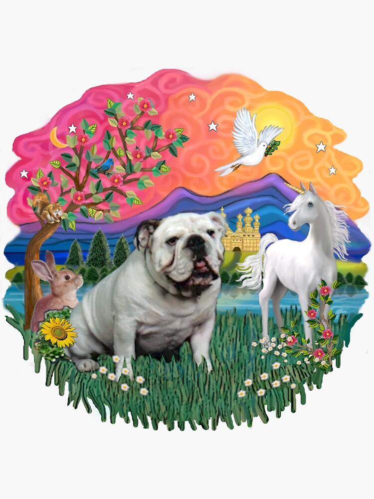 Fantasy Land with an English Bulldog (white) by JeanBFitzgerald