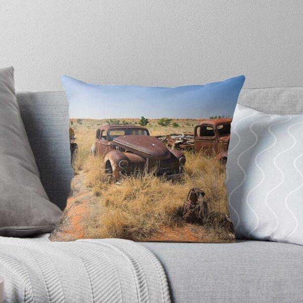 Old Vehicles Wrecks Throw Pillow