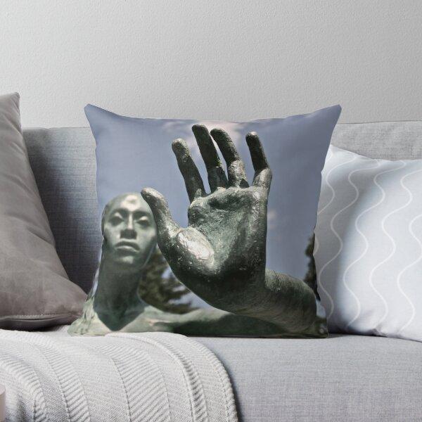 Green Statue Throw Pillow