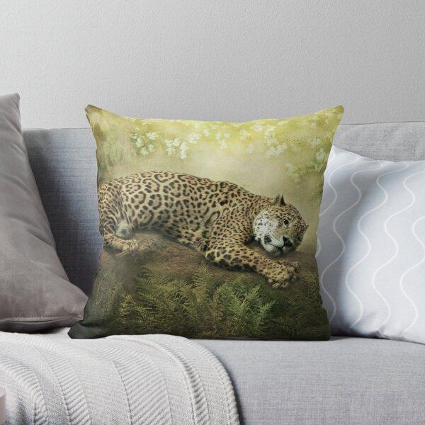 The Jaguar and the Peacock........ Throw Pillow
