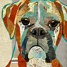 Boxer Dog Portrait Colorful Collage Art  by traciwithani